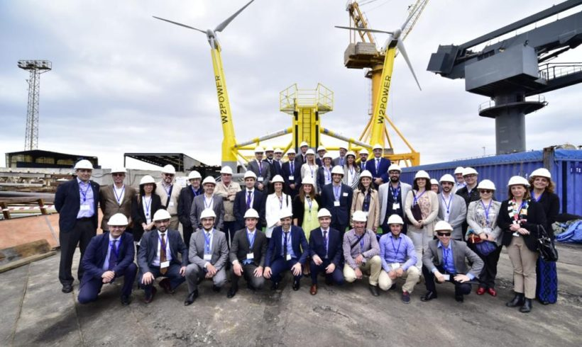 Presentation of the first floating prototype of two wind turbines: W2Power